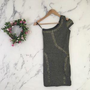 Bebe Metallic Bodycon One Shoulder Dress